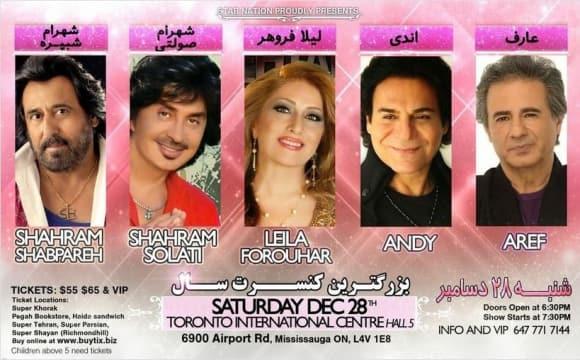 Shahram Shabpareh, Shahram Solati, Leila Forouhar, Andy & Aref Concert
