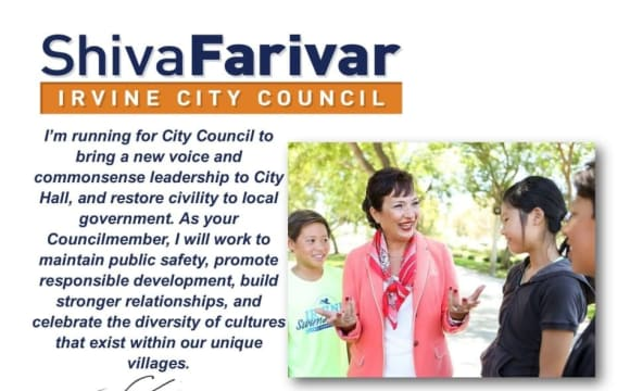 Vote for Shiva Farivar for Irvine's City Council on November 8