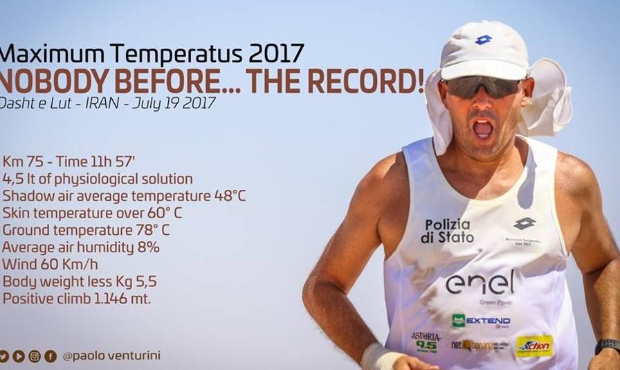 Italian runner breaks a record in world's hottest spot in Iran