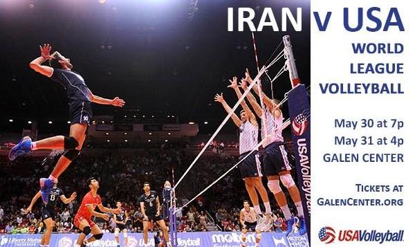 مسابقه والیبال ایران با آمریکا در لیگ جهانی در لس آنجلس