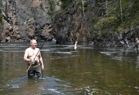 عکس تعطیلات تابستانی پوتین در جنوب سیبری: ماهیگیری و غواصی به سبک پوتین