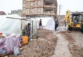 آبگرفتگی چادرها و سرما مشکل زلزلهزدگان: تصاویر چادرها زیر بارش باران