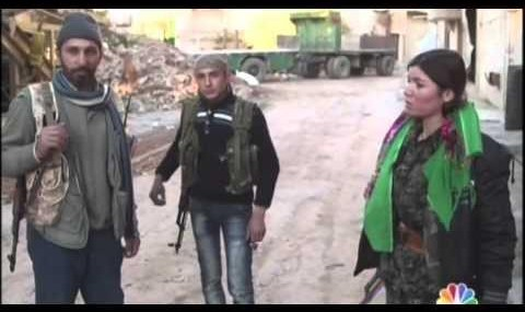 Kurdish women fight inside Kobani (video)