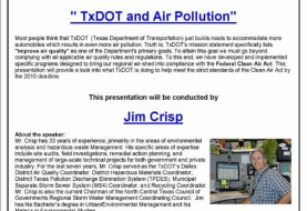 TxDOT and Air Pollution: Lecture By Jim Crisp