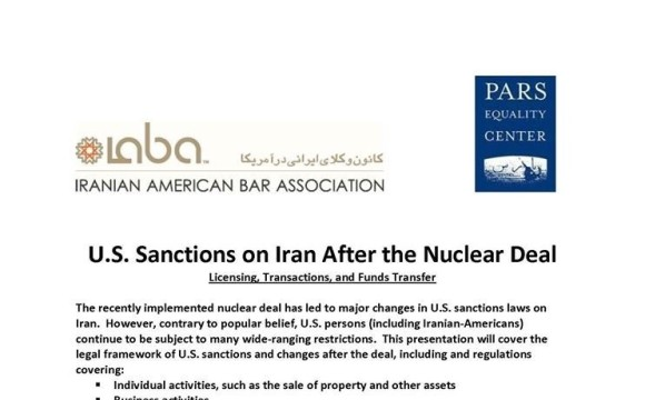 Presentation on U.S. Sanctions on Iran After the Nuclear Deal:  Licensing, Transactions, and Funds Transfer