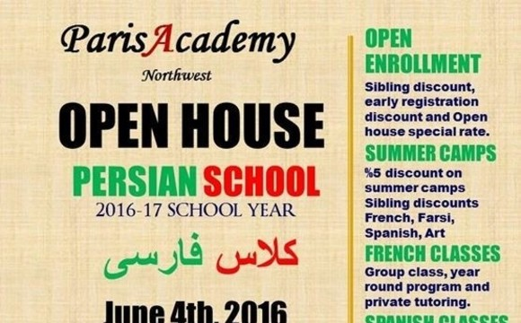 Persian Farsi School Summer Camp and Open House for 2016-17