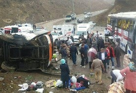 Another passenger bus capsizes in Heyran pass, 32 injured