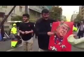 Trump image is fire-proof in Tehran! video