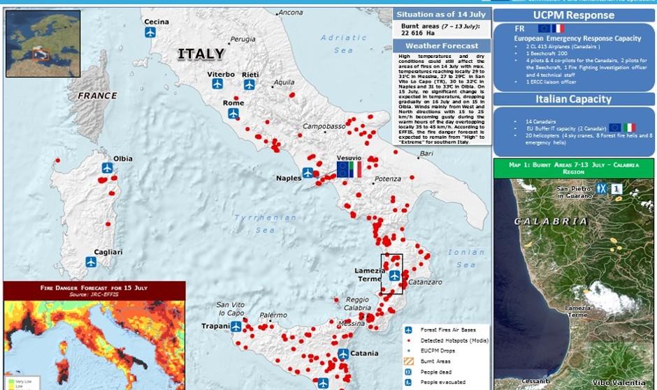 اثر گرمایش زمین بر دل جنگل های اروپا؛ بخشی از ایتالیا و فرانسه در محاصره آتش