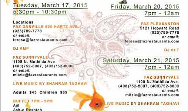Nou Rooz with Music and Persian Buffet in Faz Pleasanton