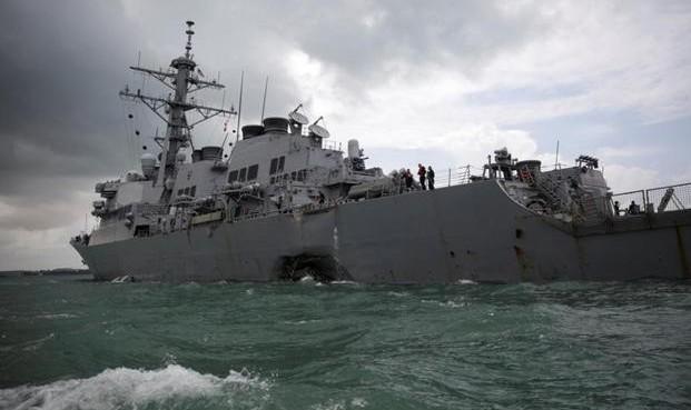 باز هم كشتی باری با ناوشكن آمریكایی برخورد کرد / ۱۰ ملوان آمریکایی در نزدیکی سنگاپور مفقود و ۵ نفر مجروح شدند