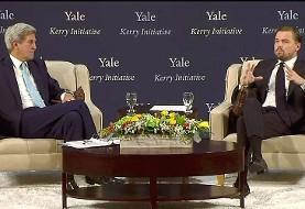 دی کاپریو در گفتگو با جان کری در کنفرانس تغییرات آب و هوایی دانشگاه ییل: ترامپ پیشنهاد میلیونها شغل سبز مرا نادیده گرفت!