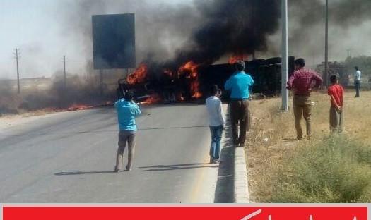 تانکر سوخت در جاده قوچان – مشهد منفجر شد، ۵ نفر کشته شدند + تصاویر