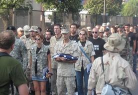 اعتراض سمبولیک ارتشی های آمریکایی به جنگ افروزی و حمله احتمالی به ایران