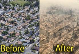 تصاویر گرانترین و زیباترین مناطق مسکونی کالیفرنیا پس از آتشسوزی: ۱۰۰ هزار آواره