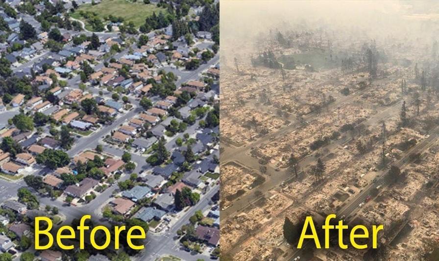 عکس شهر زیبا و گرانقیمت سانتا رزا کالیفرنیا قبل و پس از آتش سوزی ها: ۳۱ کشته و صدها مفقود، تخریب هزاران خانه و مزارع ماریجوانا
