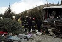 واژگونی مینیبوس معلمان در بزرگراه آزادگان تهران/ ۱۲ نفر مصدوم شدند( +عکس)