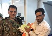 نوزادی درمنطقه زلزلهزده کرمانشاه متولد شد+ عکس