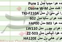 قیمت دستگاه تصفیه کننده هوا در بازار+جدول