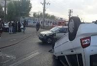 تصادف زنجیرهای یک مینیبوس و ۳ پراید در جاده خاوران
