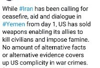 واکنش ظریف: ارائه هرگونه سند سرپوشی بر شریک جرم بودن آمریکا در جنگ یمن نخواهد گذاشت