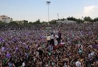 (تصاویر) روحانی در اجتماع مردم مشهد