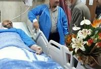عیادت حدادعادل از روحانی مجروح حادثه متروی شهرری (عکس)