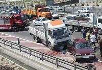 تصادف شدید کامیون و پراید در بزرگراه آزادگان +عکس