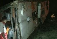 مصدومیت ۳۵ نفر بر اثر واژگونی اتوبوس