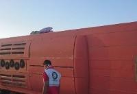 (تصاویر) واژگونی اتوبوس دانشآموزان در داراب