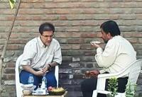 (عکس) چای خوردن ضرغامی و پسر کروبی