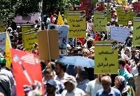 راهپیمایی مردم تهران در محکومیت اظهارات گستاخانه رئیس جمهور سبک مغز آمریکا+بیانیه