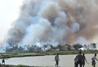 منازل مسلمانان روهینگیا همچنان در آتش میسوزد