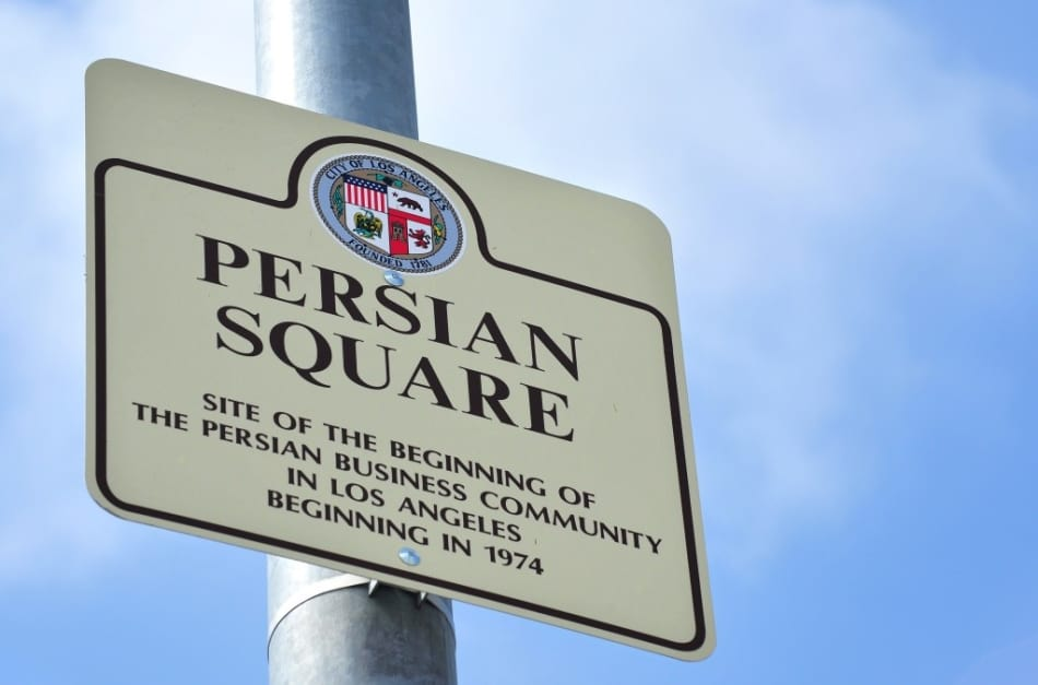 Persian Square Sign Posted On Busy California Highway