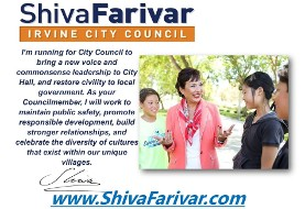 Vote for Shiva Farivar for Irvine's City Council on November ۸