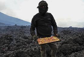(ویدئو) پخت پیتزا با حرارت گدازههای آتشفشانی!