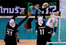 شکست بانوان والیبالیست محجبه مقابل کره جنوبی: تلاش برای مقام هفتمی