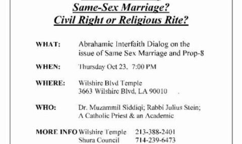 Interfaith Dialog-Same Sex Marriage? Civil Right or Religious Rite?