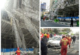 سقوط داربست ساختمان ده طبقه در سعادت آباد بلوار سعادت آباد بعد از یادگار امام را بست!