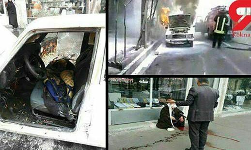 حمله به ۲ روحانی در قم با چاقو و آتش زدن خودرو