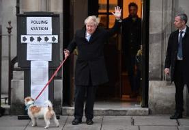 بوریس جانسون با سگش پای صندوق رأی رفت! +تصاویر
