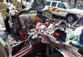 عکس تصادف مرگبار پژو و کامیون حمل زباله در بزرگراه یاسینی تهران