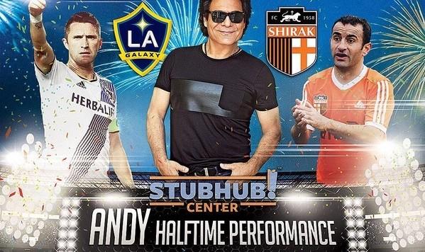 Andy live at Half time: LA Galaxy vs FC Shirak