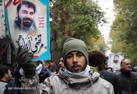 عکس مراسم تشییع پیکر فرماندار گردان امام حسین ملارد که با چاقوی تظاهرکنندگان کشته شد و  قبلا در سوریه جنگیده بود