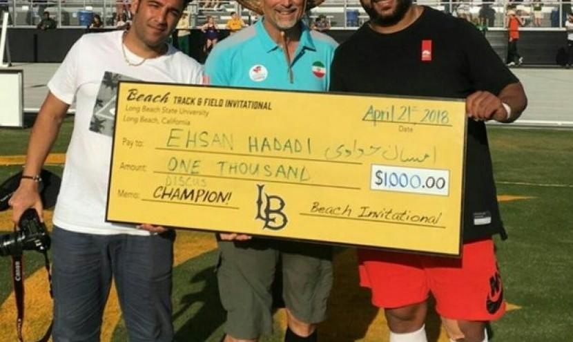 قهرمان پرتاب دیسک ایران در مسابقات محلی لس آنجلس اول شد و جایزه ۱۰۰۰ دلاری برد