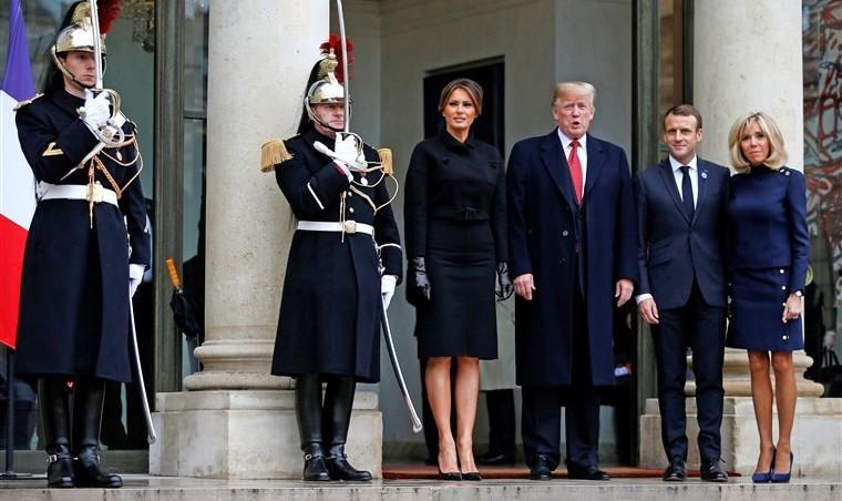 در صدمین سالگرد پایان جنگ جهانی اول، مکرون از رشد ملیگرایی انتقاد کرد / ترامپ به مراسم بارانی مزار سربازها نرفت