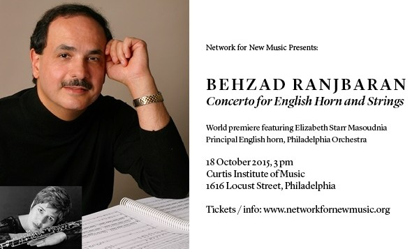 World premiere of Behzad Ranjbaran's Concerto for English Horn and Strings