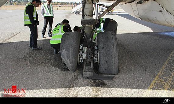 حادثه درفرودگاه دستغیب شیراز: لاستیک هواپیما روی باند ترکید، مسافران آسیبی ندیدند
