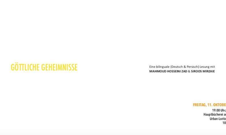 Bilinguale Lesung auf Deutsch und Persisch mit Mahmoud Hosseini Zad und Siroos Mirzaie