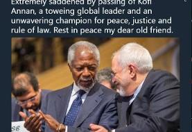 ظریف مرحوم کوفی عنان را قهرمان بینظیر صلح، عدالت و حاکمیت قانون خواند